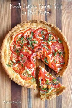 Fresh Tomato Ricotta Tart is a luscious creamy based tart topped with flavorful garden fresh tomatoes baked in a flaky puff pastry crust. It's a snap to make and is an absolutely delicious way to use the bright red tomatoes from your garden. Puff Pastry Recipes, Tart Recipes, Vegetable Recipes, Vegetarian Recipes, Cooking Recipes, Tomato Pie, Tomato Tart Puff Pastry, Puff Pastry Pizza, Tomato Tart Recipe