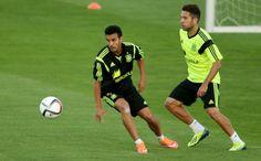 Pedro y Jordi Alba, en un entrenamiento en Las Rozas en 2014 #seleccionespanola #LaRoja #diariodelaroja
