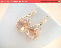 Dangle Earrings Blush Wedding Jewelry for Womens by Crystalshadow