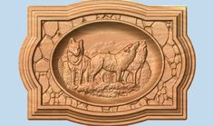 Howling Wolves 3D Wood Carving Wall Hanging by TheWoodGrainGallery