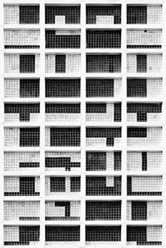 Grid within grid on architectural facade