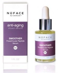 NuFace Smoother Peptide Serum-1 oz by NuFace. $64.00. Be a part of a disappearing act with NuFace Smoother Peptide Serum. Stop wrinkles on impact! In one easy step, smooth existing fine lines and wrinkles, slow future aging, increase collagen and hyaluronic acid production and reduce dark circles and puffiness. This powerful and concentrated peptide complex strengthens skin from within by increasing microcirculation and relaxing facial muscles to inhibit wrinkles. Powerful Anti...