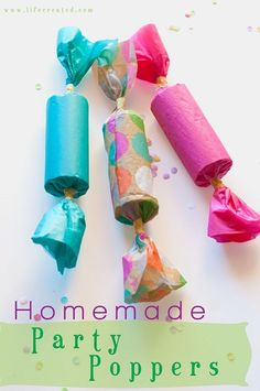 Stephanie shares how to make Party Poppers with us today! This quick craft is perfect for your New Year's Eve celebration tonight! Enjoy! -Linda Making homemade party poppers is easy and fun! Include the kids, because they will love it and it can