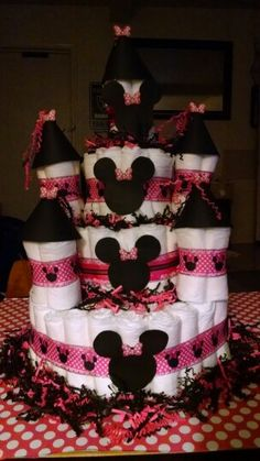 Minnie mouse diaper cake..