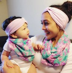 Mommy and Me matching Chiffon Infinity Scarf & Scarf bib with Purple Lilac Turban Headbands! on Etsy, $5.99