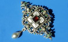 Antique LARGE Austro Hungarian Silver & Enamel Garnet Pearl Brooch