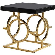 Park Lane Black & Gold Side Table - Small ($495) ❤ liked on Polyvore featuring home, furniture, tables, accent tables, black occasional tables, gold table, black table, modern table and onyx table