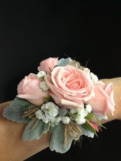 Pink wrist corsage with dusty miller (would replace baby's breath with wax flower) Homecoming Flowers, Homecoming Corsage, Prom Flowers, Bridal Flowers, Prom Corsage And Boutonniere, Bridesmaid Corsage, Wrist Corsage Wedding, Boutonnieres, Bracelet Corsage