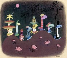 """Mary Blair Gallery - South American By 1940, Mary was working for Walt Disney and in 1941 her passionate """"explosion of color"""" style began to emerge during the Disney Studios """"South American Goodwill Tour"""""""