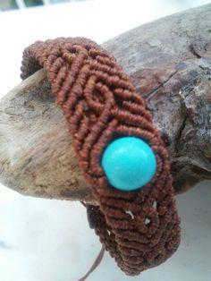Macrame unisex bracelet with turquoise howlite stone https://etsy.me/2LNGjrR #jewelry #bracelet #macrame #turquoise #howlitestone #giftforhim #giftforher #waxedcord #brown