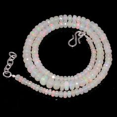 "66 CRTS 3to7MM 18"" ETHIOPIAN OPAL FACETED RONDELLE BEADS NECKLACE OBI240 #OPALBEADSINDIA"