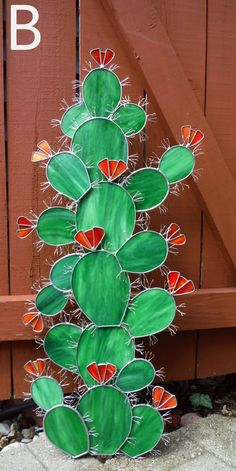 Six Foot Tall Cactus Sculpture in Stained Glass, Made to Order Deposit Required, Please Read Entire Listing - Inspired by a recent special order, I am now offering my ever popular cactus, super sized! Stained Glass Flowers, Stained Glass Lamps, Stained Glass Designs, Stained Glass Projects, Stained Glass Patterns, Mosaic Glass, Fused Glass, Glass Cactus, Tall Cactus