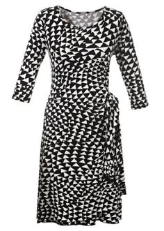 Plus size black and white geometric print wrap dress