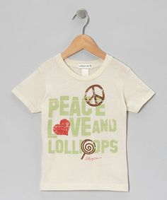 Take a look at this Beige 'Peace Love and Lollipops' Tee - Infant & Toddler by Lollipop Zen on #zulily today!