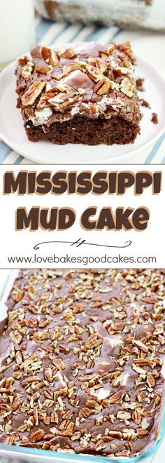 Mud Cake Mississippi Mud Cake - a Southern classic cake with chocolate, marshmallows, and pecans! Everyone asks for THIS recipe!Mississippi Mud Cake - a Southern classic cake with chocolate, marshmallows, and pecans! Everyone asks for THIS recipe! Southern Desserts, Köstliche Desserts, Delicious Desserts, Yummy Food, Southern Food, Southern Recipes, Food Deserts, Southern Comfort, Southern Style