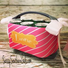 Monogrammed Six Pack Cooler on www.SassySouthernGals.com - Monogrammed Gifts & Accessories