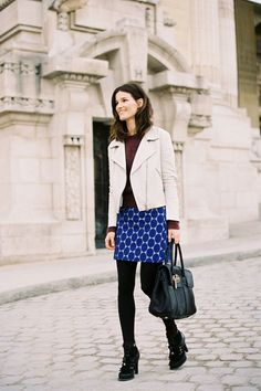 Interesting color combination and I love the jacket, of course. Add a couple of inches of length to the skirt, and I'd wear this head to toe.