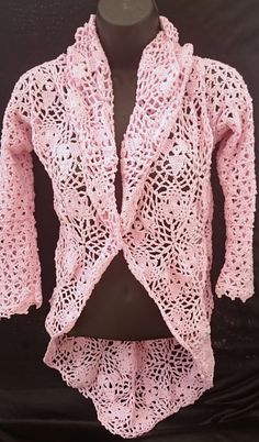 Woman's Pink Cotton Hi-low Crochet Cardigan Sweater Hi Low Jumper Christmas gift idea ready to ship gift for her high low cardigan pullover