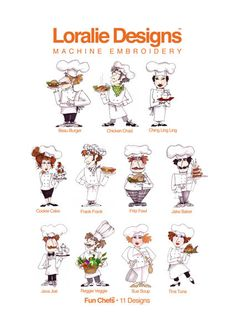 Fun Chefs Embroidery Design Collection - CD Formats included: ART | EXP | HUS | JEF | PES | SHV | VIP | VP3 | XXX Also included: Color charts in PDF format PC & Mac Compatible Weight: 4 oz For more fun, Loralie products, please visit our main Web site: www.LoralieDesigns.com