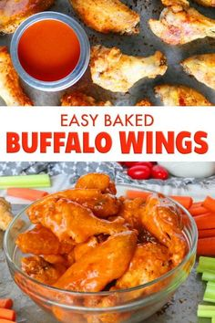 Buffalo Wing Sauce These easy baked buffalo wings are the perfect party appetizer! Seriously, finger food does not get easier or tastier than these golden brown, crispy chicken wings drenched in a perfect homemade buffalo sauce! Best Appetizer Recipes, Best Appetizers, Chicken Appetizers, Party Appetizers, Baked Chicken Wings Buffalo, Hot Buffalo Wings, Chicken Wing Sauces, Easy Chicken Wing Recipes, Homemade Buffalo Sauce
