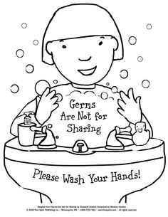 free printable coloring page to teach kids about hygiene germs are not for sharing - Free Printable Kids Activities