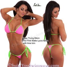 Sexy Thong Bikini in a cute 2-tone pink with lime color combination. Model Jade.