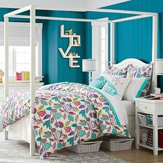 Beadboard Canopy Bed + Trundle #pbteen