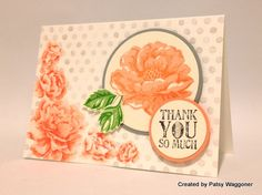 Stamping up Peach Color Flower card