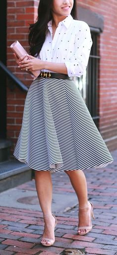 Dots Shirt with Stripes Mini Skirt and Nude Heels | Spring Street Outfits