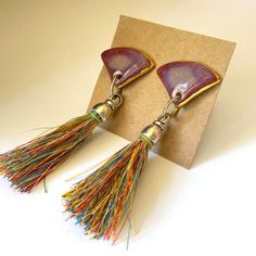 Porcelain tassle earrings with gold trim and Nickel-free earring post. Various colours and styles available. Porcelain Jewelry, Ceramic Jewelry, Nickel Free Earrings, Ceramic Studio, Carat Gold, Tassel Necklace, Ceramics, Sterling Silver, Handmade