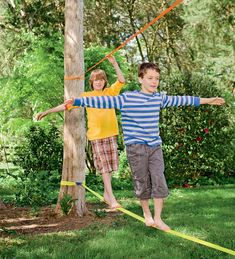 Nylon Web Classic Slackline with Training Line - great for backyard fun Outdoor Play Spaces, Kids Outdoor Play, Backyard For Kids, Outdoor Toys, Outdoor Fun, Zip Line Backyard, Natural Playground, Backyard Playground, Backyard Games