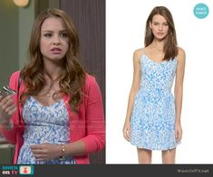 Sofia's blue printed dress on Young and Hungry.  Outfit Details: http://wornontv.net/51728/ #YoungandHungry