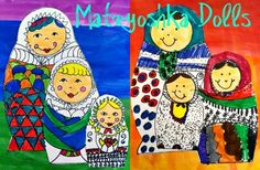 Patterned Matryoshka Dolls. I love these Russian dolls and this project! Teaches proportion and pattern. Delightful idea from Patty at the Deep Sparkle website.