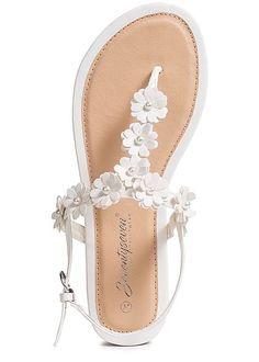 8bff297f2c5945 Seventyseven Lifestyle Damen Flower Toe Post Sandals weiss
