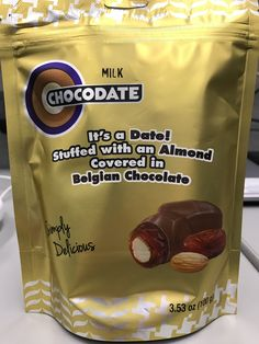 Chocodate milk chocolate it's a date! Stuffed with an almond covered in Belgian chocolate