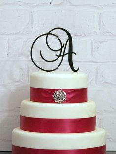 Custom 5 inch Monogram Acrylic Wedding Cake Topper by ShopTheTop