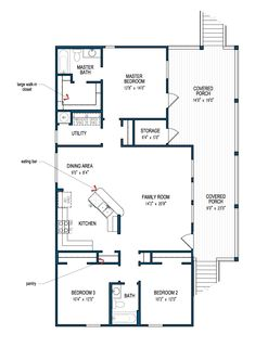 beach house plans - Small 3 Bedroom House Plans