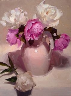 Peonies Galore by Dennis Perrin Oil ~ 24 x 18
