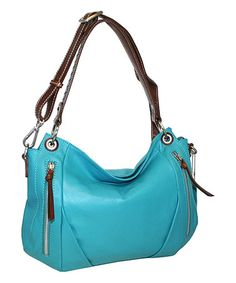 Turquoise Lady Madonna Leather Hobo #zulily #zulilyfinds