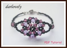 Swarovski Purple Flower Bouquet Bracelet BB085  PDF by darlovely, $7.50