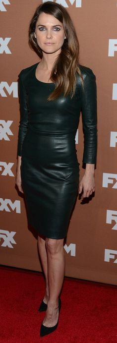 Who made Keri Russell's black leather dress and black suede pumps that she wore in New York on March 28, 2013?