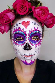 Over the last few weeks we've been giving you a load of suggestions, whether it be celebrity outfits, crazy make-up or even your Halloween nails, but now we've got even MORE inspiration for you - thanks to Benefit's Head Makeup and Trend Artist, Lisa Pott Halloween Skull, Halloween Nails, Halloween Face Makeup, Halloween Halloween, Vintage Halloween, Halloween Costumes, Sugar Skull Makeup, Sugar Skull Art, Sugar Skulls