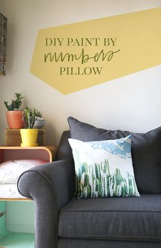 Cactus DIY Paint by Numbers Pillow + Freebie - How To-sday - Shrimp Salad Circus