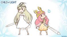 Two swords:Child of Light by Samiraho-topaz on DeviantArt Child Of Light, The Legend Of Zelda, Kingdom Hearts, Final Fantasy, Fantasy Art, Fallen London, Alternative Art, Yandere Simulator, Kid Character