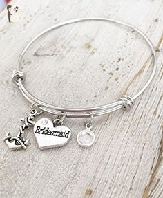 Bridesmaid Adjustable Wedding Bracelet Gift - Anchor Charm Bangle with April Stone - Wedding bracelets (*Amazon Partner-Link)