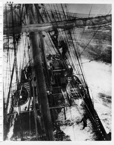 Ship Invercauld in action, taking on water, shot from half mast abt. 1900