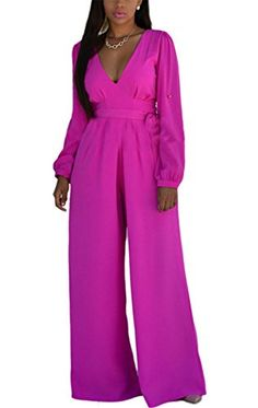 c496838653c Allonly Womens V Neck Long Sleeve High Waist Jumpsuit Romper     Be sure to