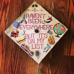 College graduation cap for the travel addict and study abroad student! Found all of the stickers at Hobby Lobby http://www.giftideascorner.com/gifts-college-student