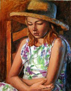 "STRAW HAT II   (Donation) by Mollie Erkenbrack Oil ~ 20"" x 16"""