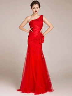 Charming One Shoulder Solid Color Red Evening Dress